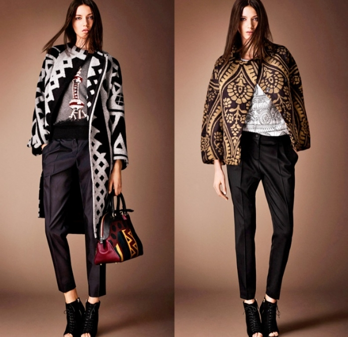 burberry-prorsum-london-2014-pre-fall-autumn-womens-fashion-presentation-coat-embroidery-knitwear-lace-geometric-prints-dress-diamond-metallic-map-foliage-01x 20 Elegant Jacket & Coat Trends for Fall & Winter 2020