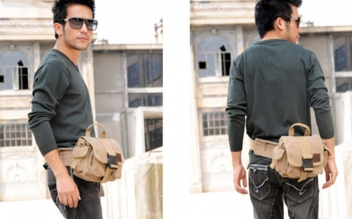 canvas-messenger-bag-men-canvas-fanny-pack 80's Fashion Trends for Men