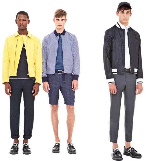 dkny-donna-karan-2014-spring-summer-mens-presentation-new-york-fashion-week-show-white-chinos-blazers-parka-bomber-varsity-jacket-motorcycle-biker-blue-02x 2017 Men's Color Trends ... [UPDATED]
