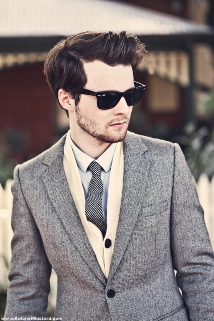 herringbone-blazer-men-style-sunglasses-ray-ban-fashion-tie 80's Fashion Trends for Men