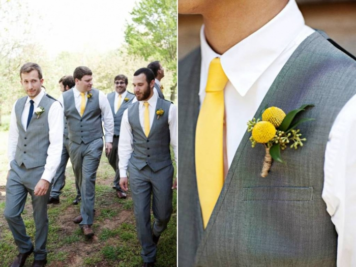 real-wedding-ideas-inspiration-grooms-formal-attire-grey-suits-yellow-ties-wedding-flowers-outdoor-spring-wedding Top 10 Modern Color Trends for Weddings Planned in 2020