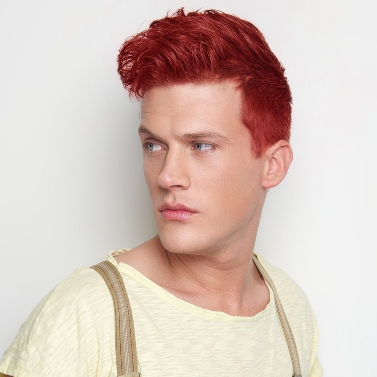 Crazy color mens semi permanent hair dye vermillion red p99 3722 image