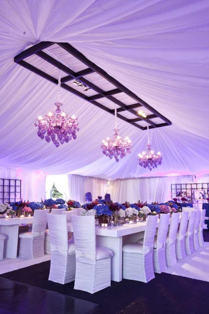 wedding-reception-long-table-ideas-centerpieces-decorations-purple-tent-chandelier-4a 25+ Best Wedding Decoration Ideas in 2019
