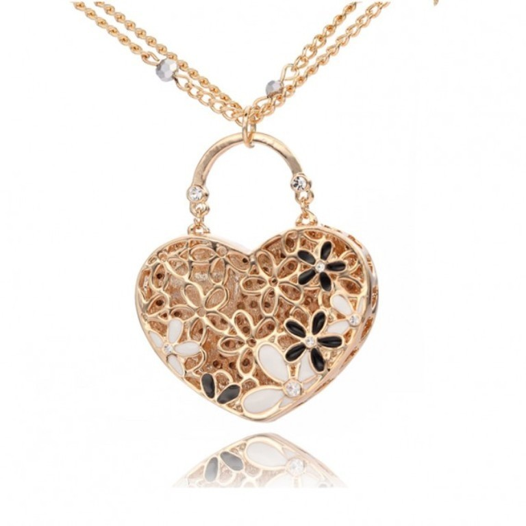 11928547-heart-lock-pendant-long-necklace Why Do Women Love Heart Jewelry?