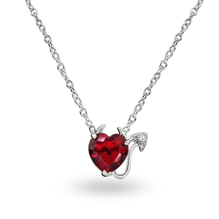 925-silver-cz-garnet-heart-devil-necklace Why Do Women Love Heart Jewelry?