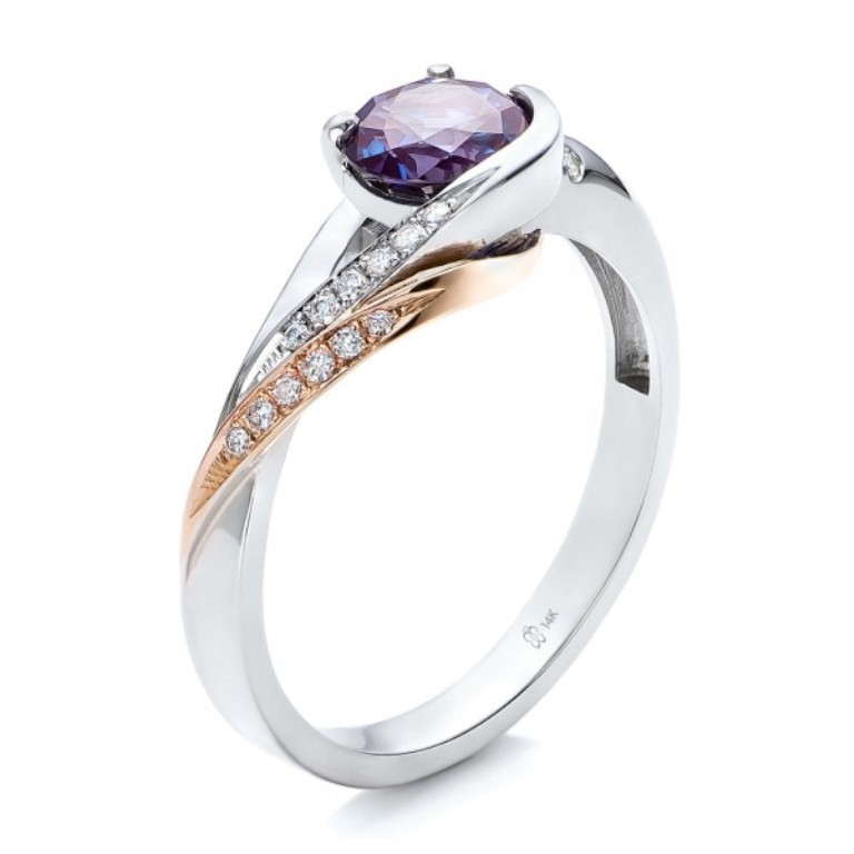 Custom-Two-Tone-Alexandrite-and-Diamond-Engagement-Ring-3Qtr-101566 Alexandrite Jewelry and Its Paranormal Wonders & Properties
