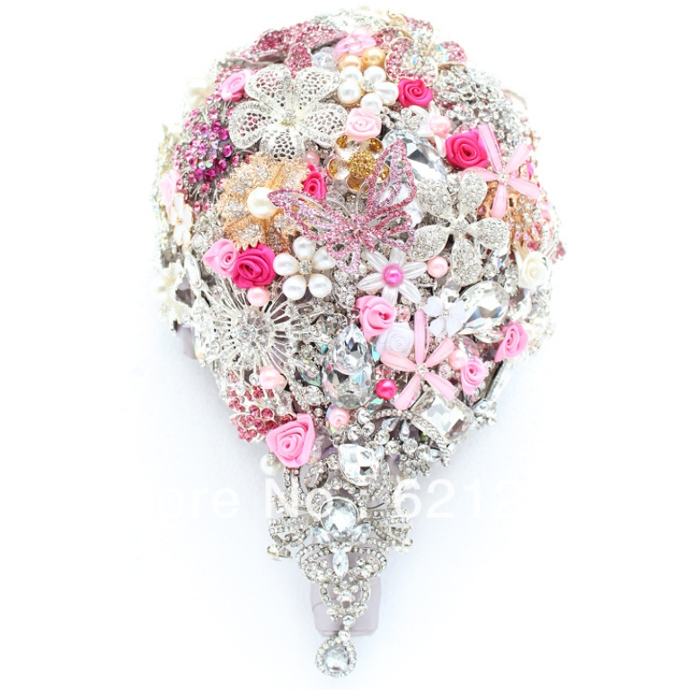 EMS-Free-Shipping-Pink-bridal-jewelry-holding-flowers-teardrop-shaped-brooch-luxury-bridal-bouquet-pink-wedding 25 Fabulous Bridal Brooch jewelry Bouquets
