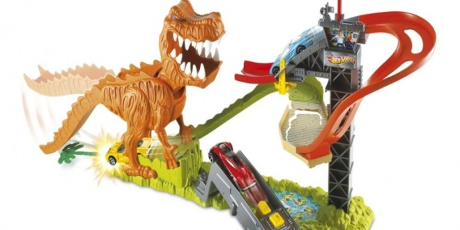 hot wheels t rex take down playset pouted online. Black Bedroom Furniture Sets. Home Design Ideas