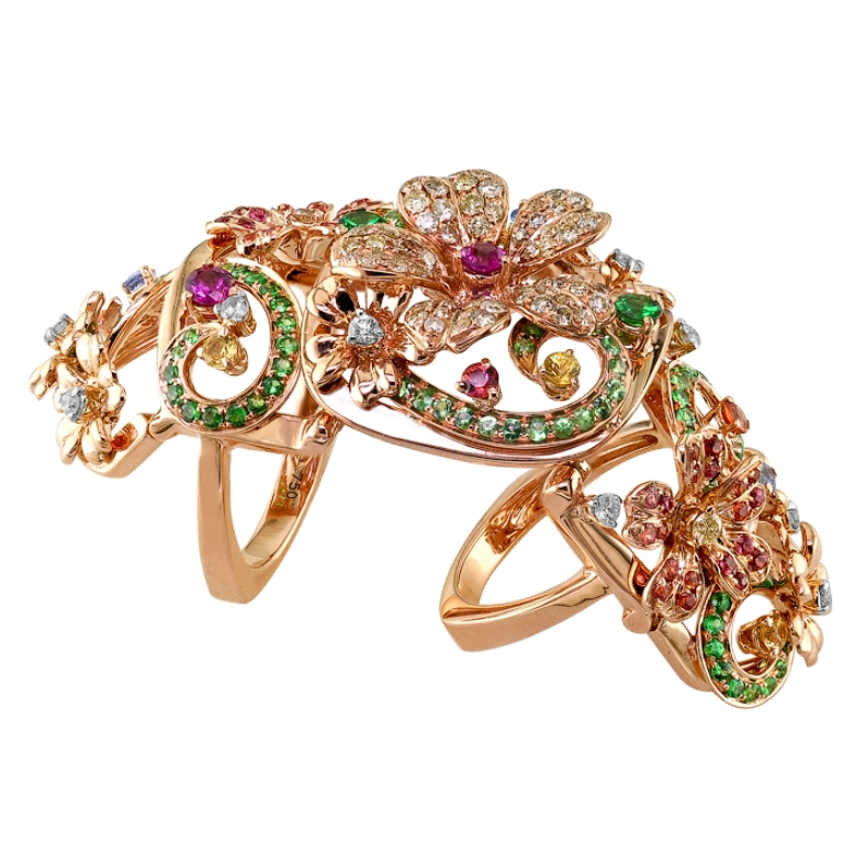 "Pink-Gold-Diamond-and-Gem-Full-Finger-Ring 25 Awesome & Affordable Full Finger Rings ""Armor Rings"""