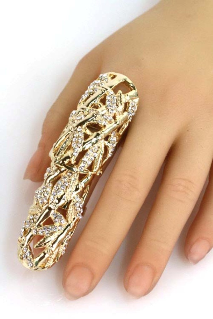 "Rhinestone-Leaf-Full-Finger-Ring 25 Awesome & Affordable Full Finger Rings ""Armor Rings"""