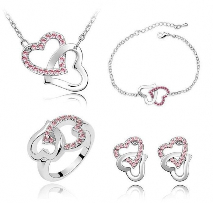 Swarovski-crystal-heart-shaped-jewelry-set-white-gold-woman-Swarovsi-crystal-heart-jewelry-set Why Do Women Love Heart Jewelry?
