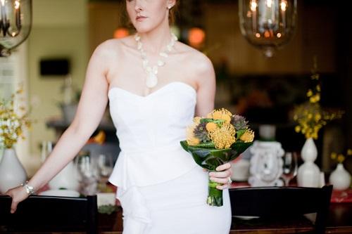 capiz-shell-necklace-short-wedding-dress-yellow-bouquet 25 Unique Necklaces For The Bridal Jewelry