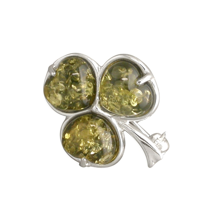 green-amber-shamrock-sterling-silver-brooch All What You Need to Know about Green Amber Jewelry