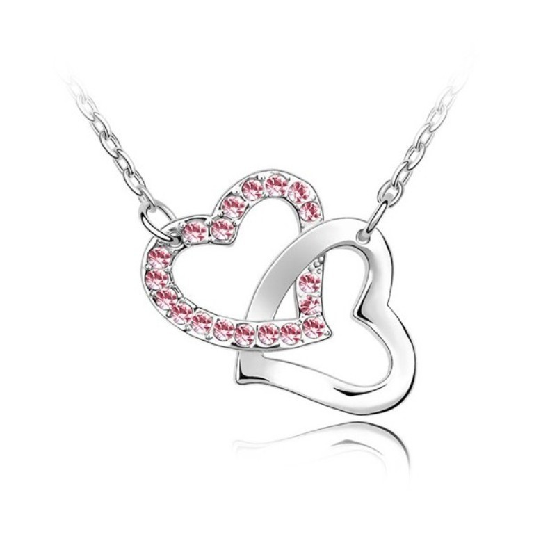 pink-linked-heart-necklace-made-with-swarovski-elements Why Do Women Love Heart Jewelry?