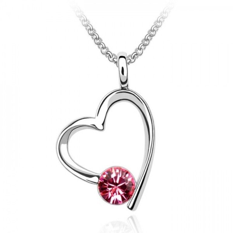 pink-open-heart-solitaire-necklace-made-with-swarovski-elements Why Do Women Love Heart Jewelry?