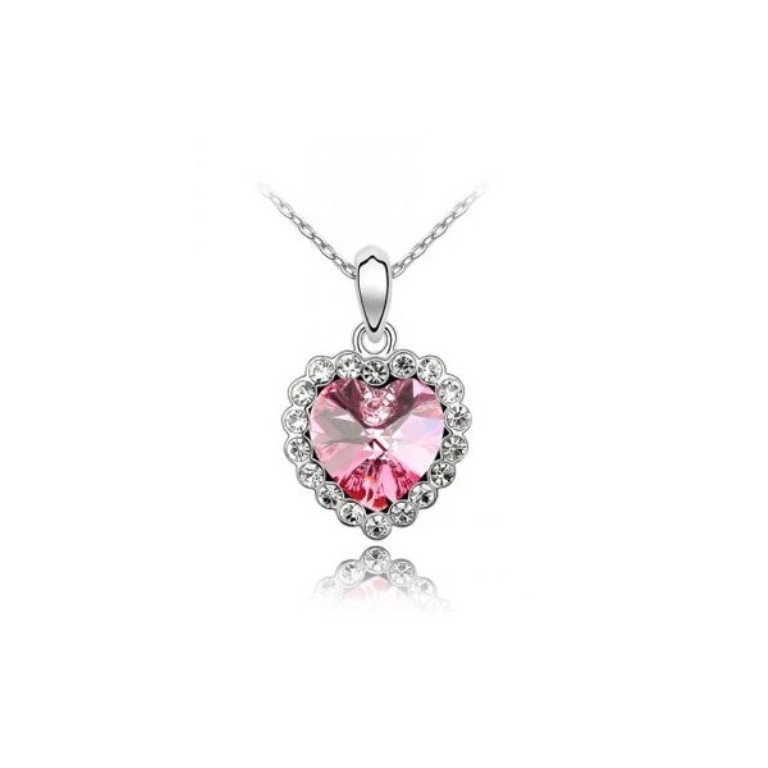pink-princess-heart-necklace-made-with-swarovski-elements Why Do Women Love Heart Jewelry?