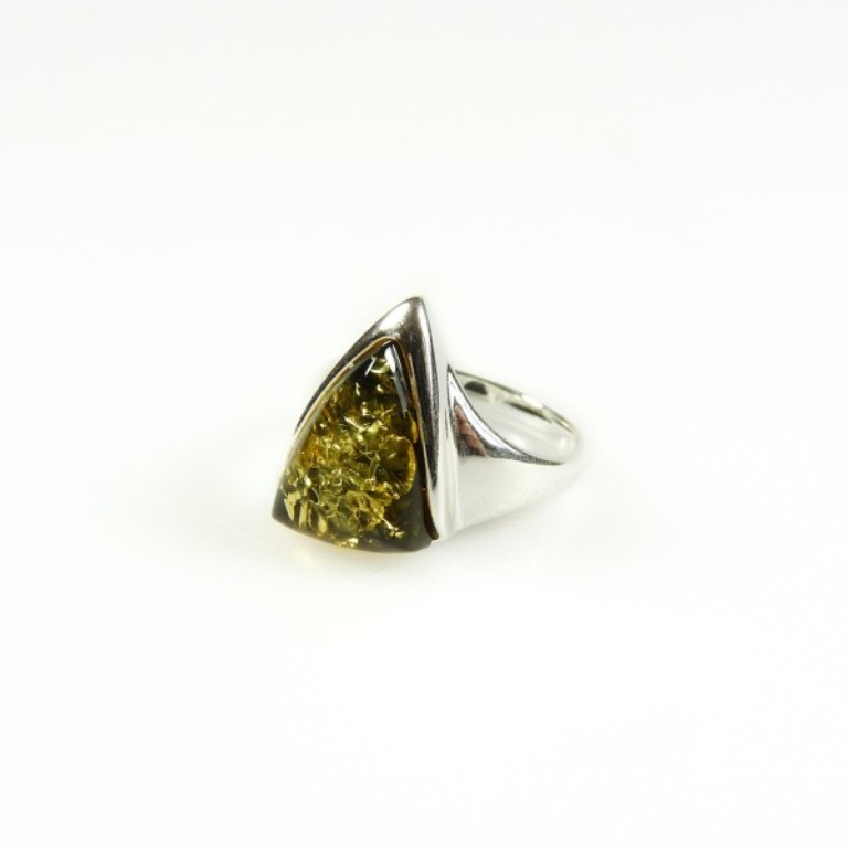 silver-amber-triangle-ring-green All What You Need to Know about Green Amber Jewelry