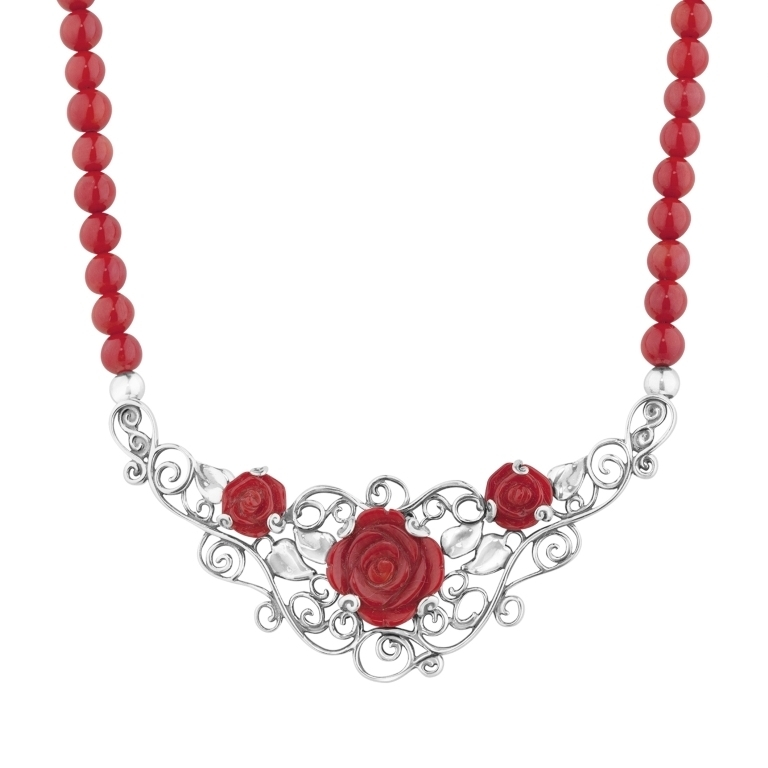 1_29991_ZM_American-West-Red-Coral-Rose-Statement-Necklace Coral Jewelry as a Magnificent Type of Jewelry from the Sea