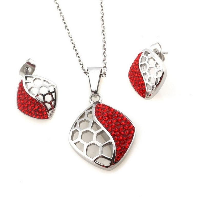 2014-Womens-Clay-Glue-wtih-Svarovsk-Crystal-Red-Hollow-Stainless-Steel-Pendant-Necklace-Earring-African-Jewelry 30 Everlasting & Affordable Stainless Steel Jewelry