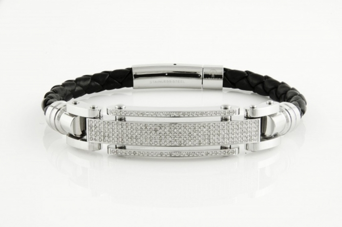 805953-TJT0F1012-1-140CT-STAINLESS-STEEL-WHITE-Diamond-MENS-ARCTICA-BRACELET-Treasures-Jewelry-840x560 How to Clean Your Stainless Steel Jewelry