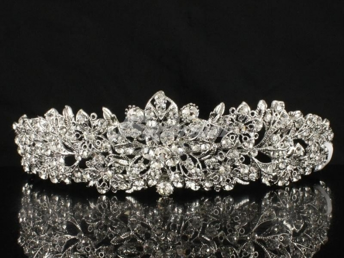 Absolutely-Flower-Wedding-Bridal-Tiara-Crown-w-Clear-Crystals-Free-Shipping Be Like a Queen with Your Crown [79 Newest Trends...]