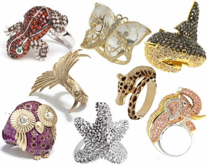 AnimalCocktailRingCollage1 69 Dress Jewelry Pieces in the Shape of Your Favorite Animal