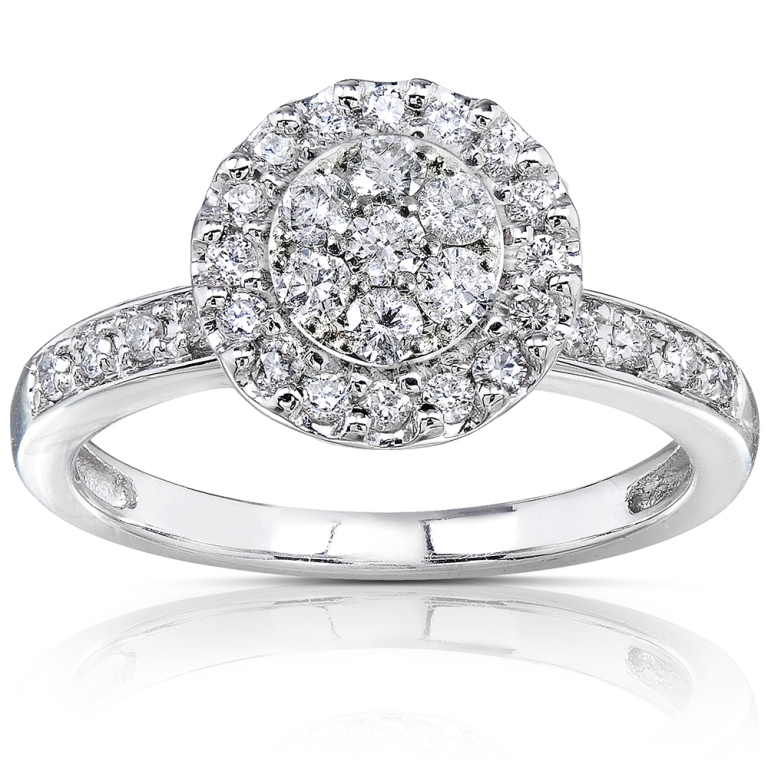 Annello-14k-White-Gold-1-2ct-TDW-Diamond-Cluster-Engagement-Ring-H-I-I1-I2-L15329271 Cluster Engagement Rings for Those who Are on a Budget