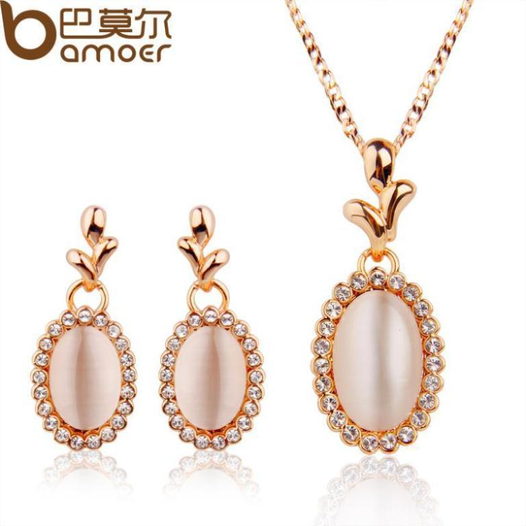 Bamoer-new-Wedding-Opal-font-b-Jewelry-b-font-Sets-Rose-Gold-Plated-Austrian-Crystal-Necklace How to Clean Green Gunk from Your Costume Jewelry