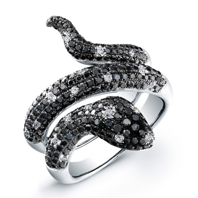 Black-and-White-Diamond-Snake-Ring How to Buy Jewelry Online without Losing Money