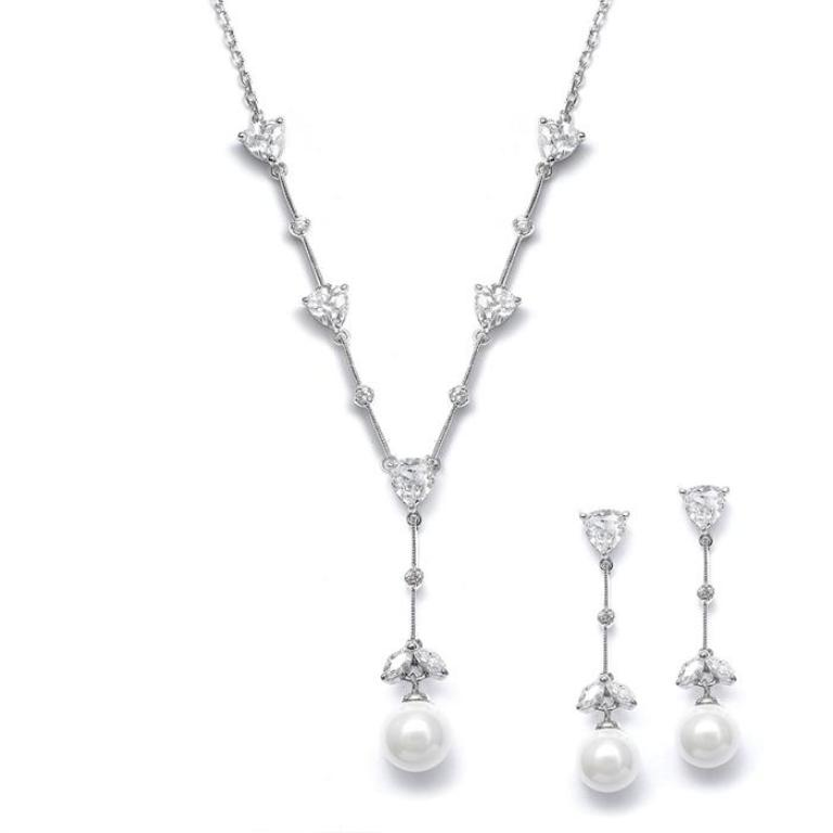 BridalNecklaceEarringsSetCZTrillionWhitePearlDangleN080 How to Choose the Right Wedding Jewelry for Your Bridesmaids