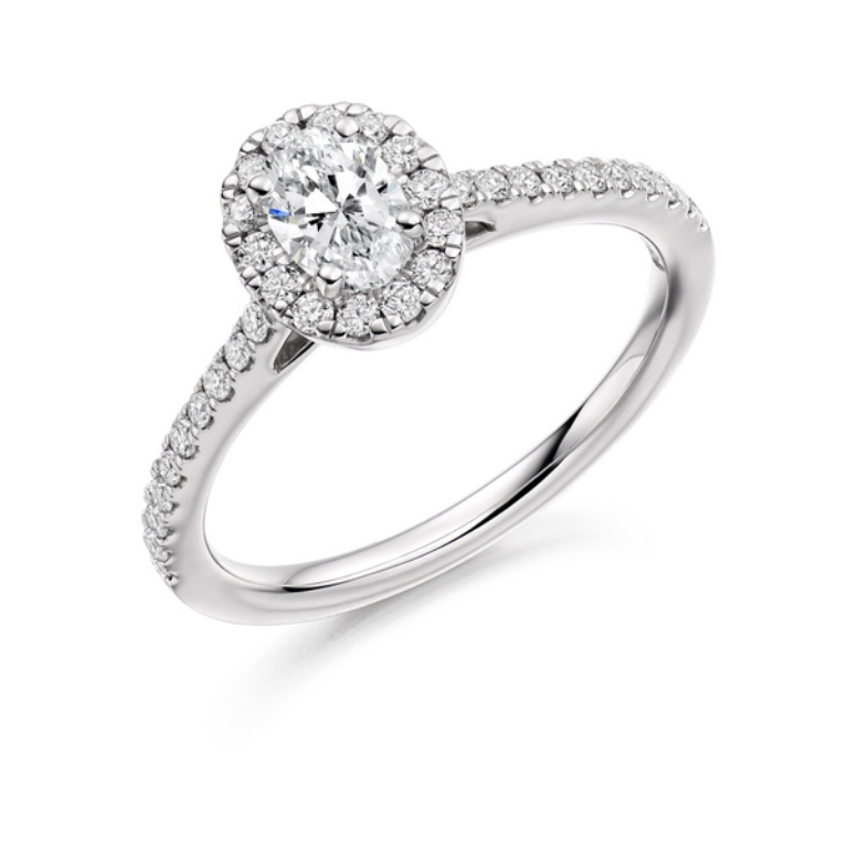 DA4014-oval-micro-set-cluster-engagement-ring-platinum-diamond-shoulders Cluster Engagement Rings for Those who Are on a Budget