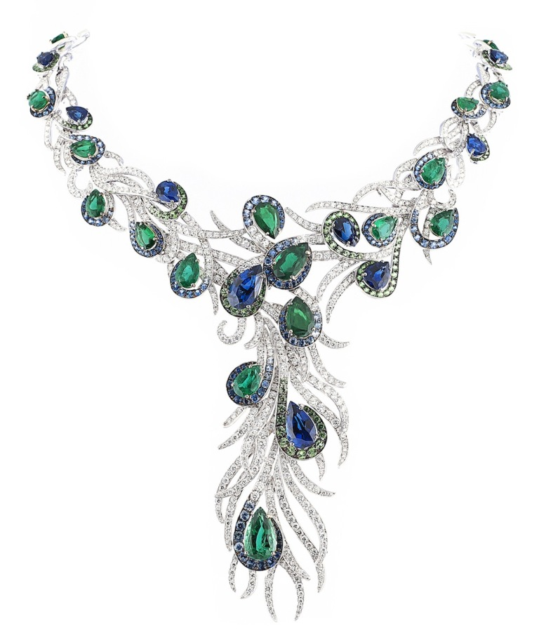 Elegant-Feathers-necklace-in-sapphire-emerald-savorite-and-white-diamond-from-the-Journey-To-Dreams-Collection. Tsavorite as a Strong Competitor to Emerald