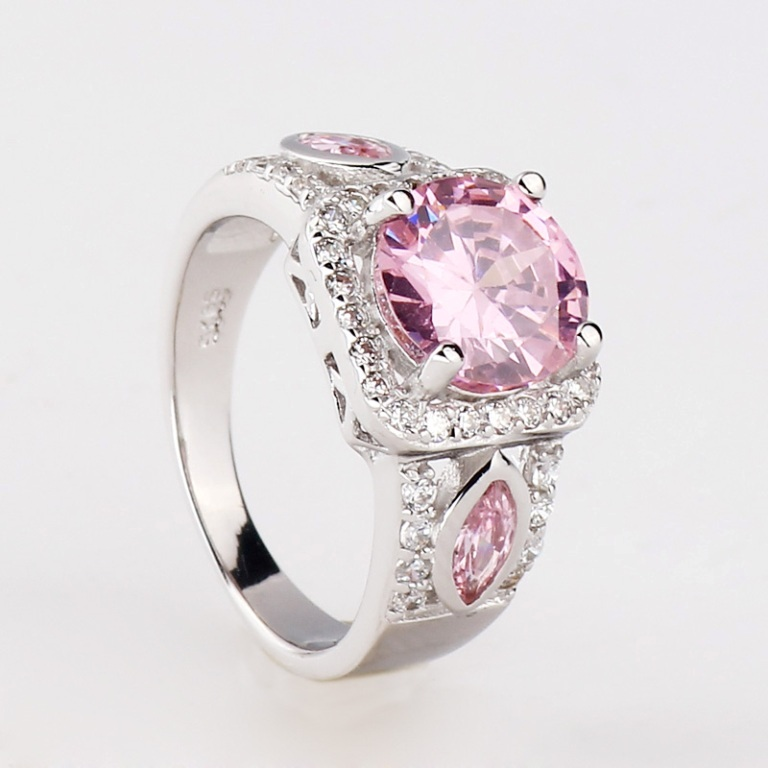 Fashion-Silver-Pink-Stone-New-Mystic-Topaz-Band-Ring-Jewelry-with-Ring-Box-BT0042 Pink Topaz Jewelry as a Romantic Gift