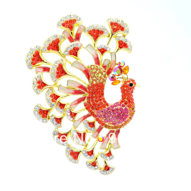 Free-shipping-Seperwar-Red-Rhinestone-Crystal-Bird-Peacock-Peafowl-Brooch-Pin-3-9-OFA-1791 69 Dress Jewelry Pieces in the Shape of Your Favorite Animal