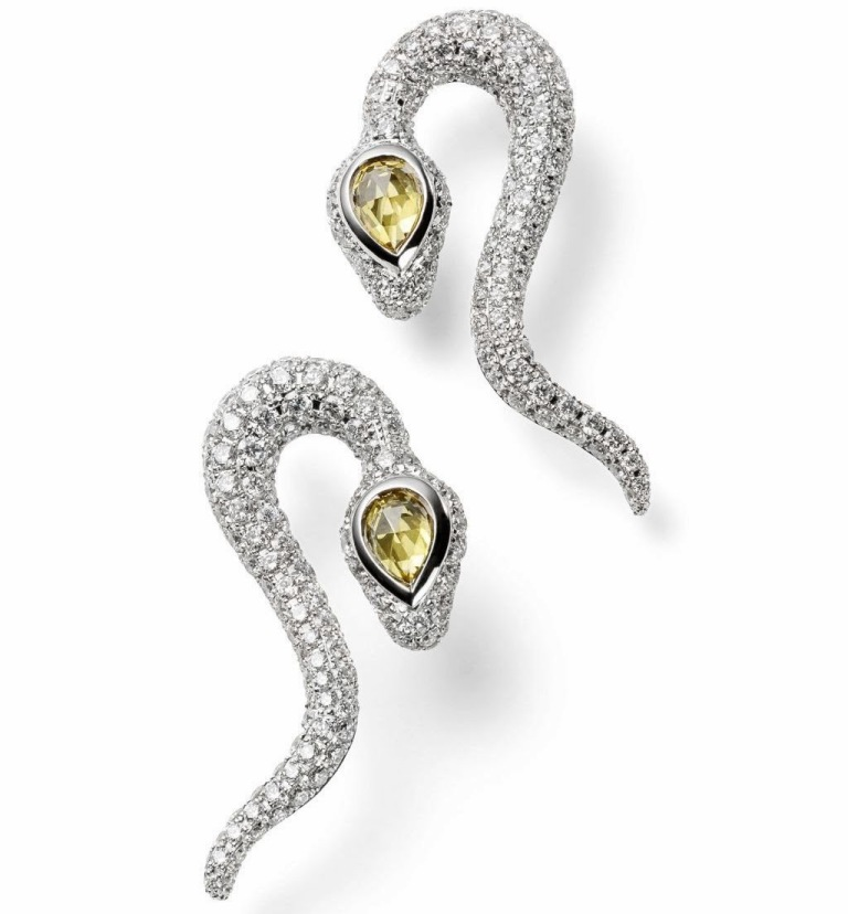 Frieden-Creative-Design-earrings-serpent-–-white-gold-18k-284-diamonds-2-yellow-sapphires How to Tell Real Jewelry from Fake