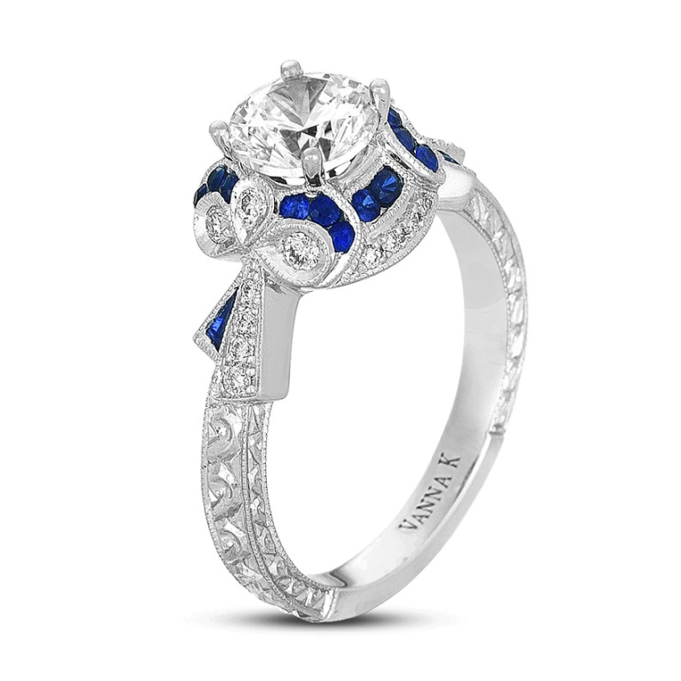 Hand-Engraved-Ring-Diamond-Round-0.22-Carat-0.35-Carat-Sapphires-0.05-Tapered-Baguette-Sapphires-1-Carat-center-stone Let's Discover Jewelry Secrets about Gold & Diamonds