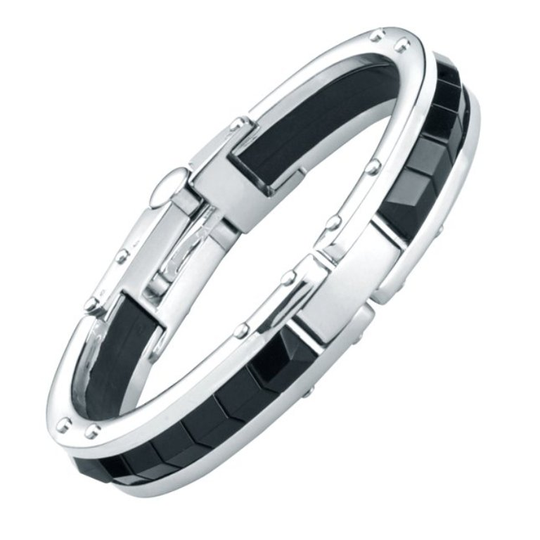 MEN-RnBJewellery-Solid-Stainless-Steel-Rubber-Black-Bracelet-Bangle-back How to Clean Your Stainless Steel Jewelry