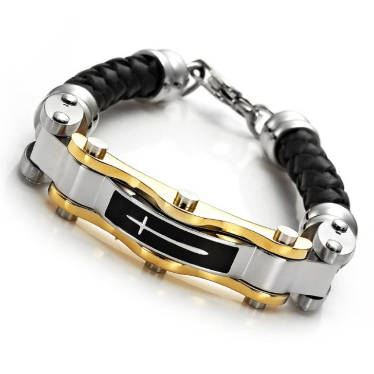 MENS-Stainless-Steel-Leather-CROSS-Bracelet-main 30 Everlasting & Affordable Stainless Steel Jewelry