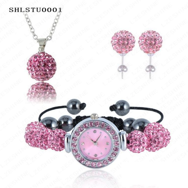 New-10mm-Balls-Watch-Shamballa-font-b-Set-b-font-Crystal-Earrings-Crystal-Necklace-Pendant-Bracelet 30 Everlasting & Affordable Stainless Steel Jewelry