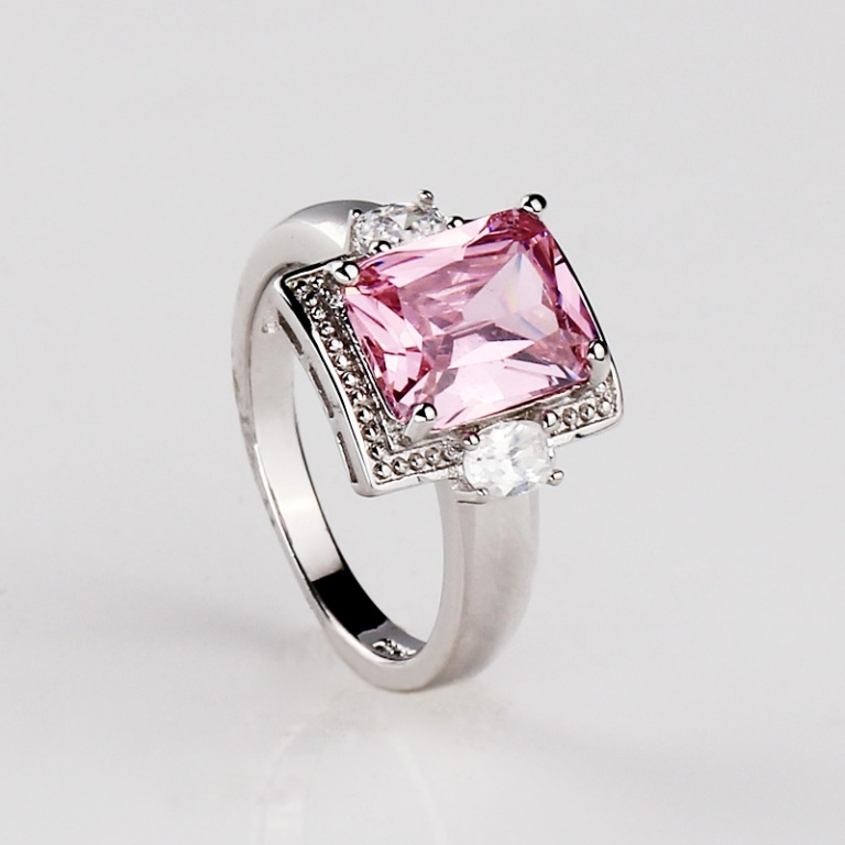 New-hot-fashion-woman-s-925-Silver-Zirconia-square-font-b-Pink-b-font-font-b Pink Topaz Jewelry as a Romantic Gift