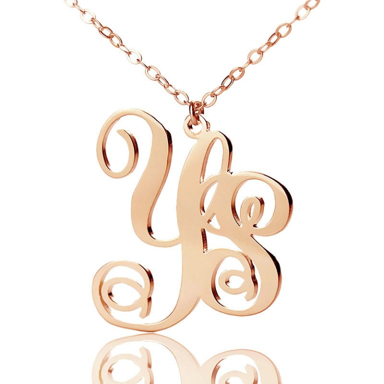 Personailzed-Rose-Gold-Vine-Font-2-Initial-Monogram-Necklace Express Your Love by Presenting Monogram Jewelry