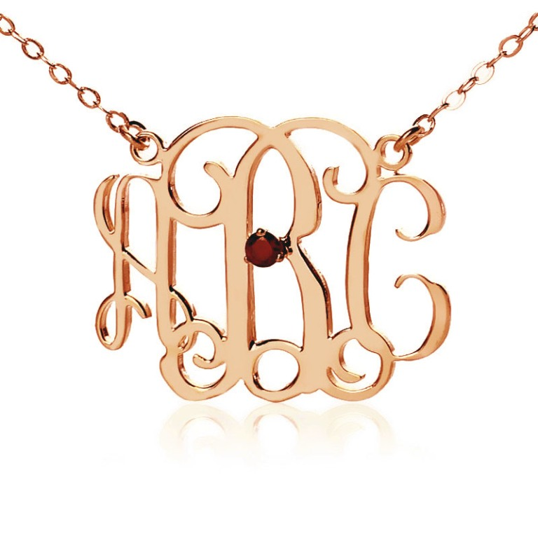 Personalized-Rose-Gold-Initial-Monogram-Necklace-With-One-Birthstone Express Your Love by Presenting Monogram Jewelry