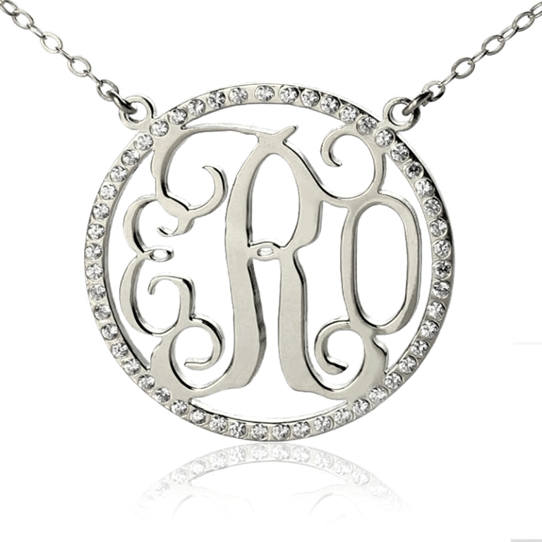 Personalized-Silver-Initial-Monogram-Necklace-+-Circle-Brithstone Express Your Love by Presenting Monogram Jewelry
