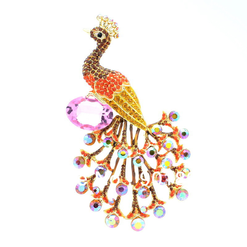 Seperwar-Pink-Glass-Rhinestone-Crystal-Peacock-Peafowl-Bird-Brooch-Pin-4-6-OFA-1938-Free-shipping 69 Dress Jewelry Pieces in the Shape of Your Favorite Animal
