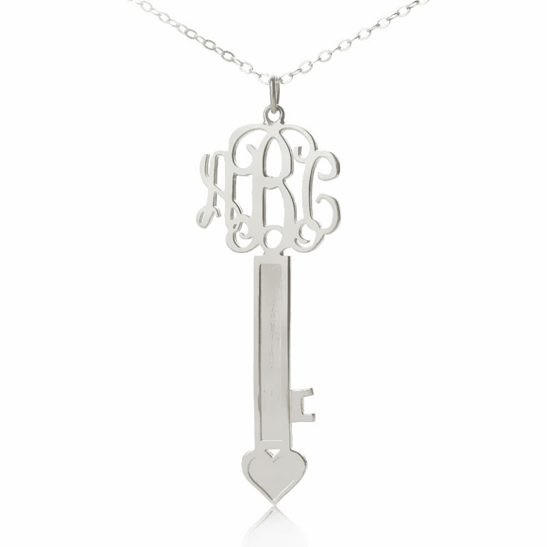 Silver-Heart-Key-Monogram-Necklace Express Your Love by Presenting Monogram Jewelry