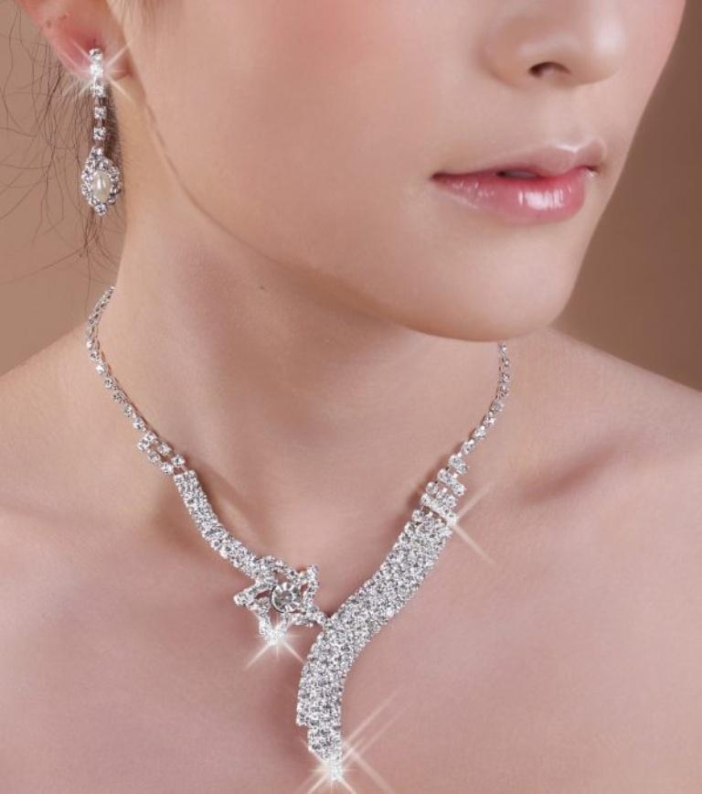 SimpleJewelryWeddingTwo-PieceTheNecklaceAndEarringsCanBeWornTogetherOrByThemselvesColorStyleRepresentationMayVaryByMonitorNoLS57509-0 How to Choose Bridal Jewelry for Enhancing Your Beauty