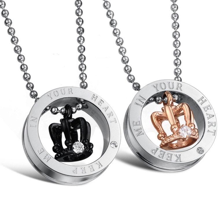 Stainless-Steel-Crown-Couples-Necklace-Pendant-Set_2961_2 30 Everlasting & Affordable Stainless Steel Jewelry