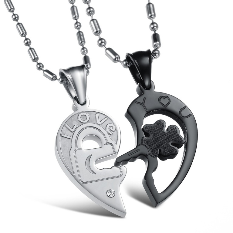 Stainless-Steel-Love-Heart-Shape-Couples-Necklaces-Pendants-Set-Black-White_8882_1 30 Everlasting & Affordable Stainless Steel Jewelry