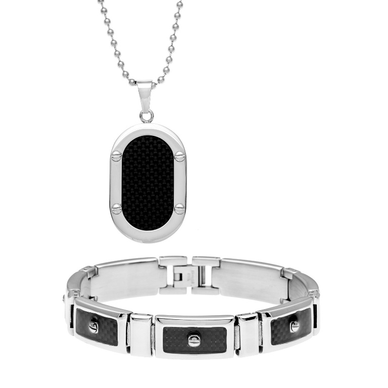 Stainless-Steel-Mens-Black-Carbon-Fiber-Inlay-2-piece-Jewelry-Set-L15624083 30 Everlasting & Affordable Stainless Steel Jewelry