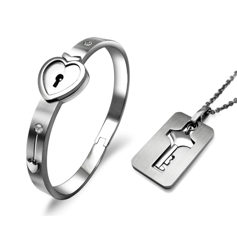 Titanium-steel-stainless-steel-lover-s-jewelry-sets-keyhole-heart-shape-Women-s-Bangle-Keys-Square How to Clean Your Stainless Steel Jewelry